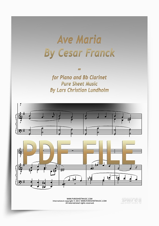 Thumbnail Ave Maria By Cesar Franck for Piano and Bb Clarinet (PDF file), Pure Sheet Music arranged by Lars Christian Lundholm