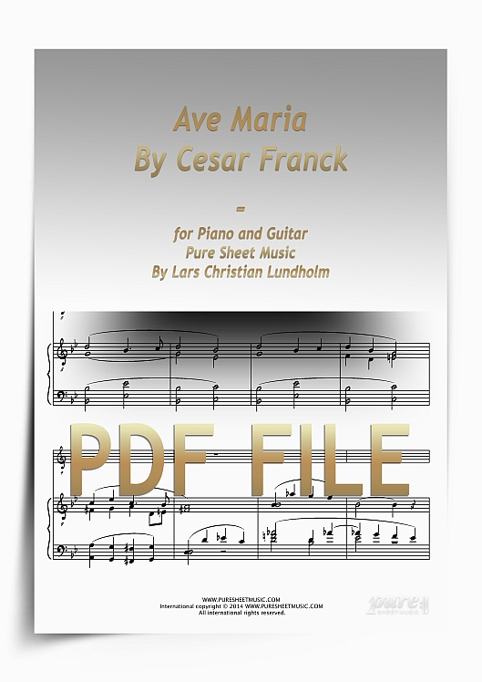 Thumbnail Ave Maria By Cesar Franck for Piano and Guitar (PDF file), Pure Sheet Music arranged by Lars Christian Lundholm