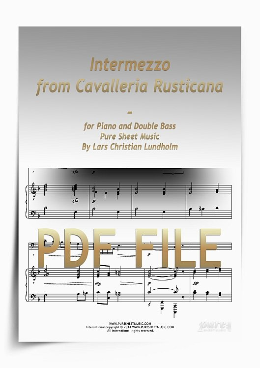 Thumbnail Intermezzo from Cavalleria Rusticana for Piano and Double Bass (PDF file), Pure Sheet Music arranged by Lars Christian Lundholm