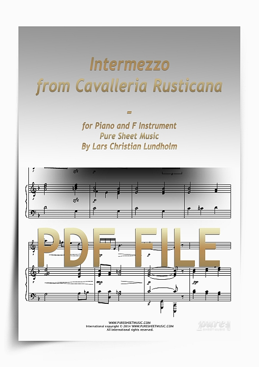 Thumbnail Intermezzo from Cavalleria Rusticana for Piano and F Instrument (PDF file), Pure Sheet Music arranged by Lars Christian Lundholm
