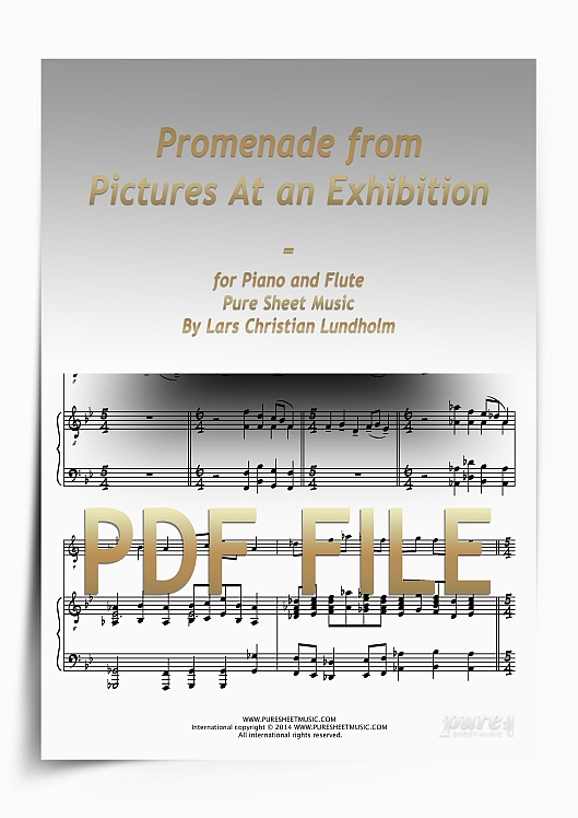 Thumbnail Promenade from Pictures At an Exhibition for Piano and Flute (PDF file), Pure Sheet Music arranged by Lars Christian Lundholm