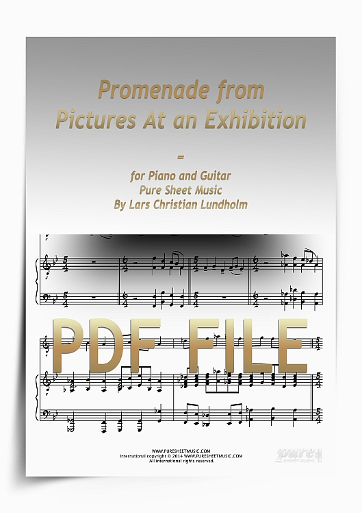 Promenade from Pictures At an Exhibition for Piano and Guitar (PDF file), Pure Sheet Music arranged by Lars Christian Lundholm