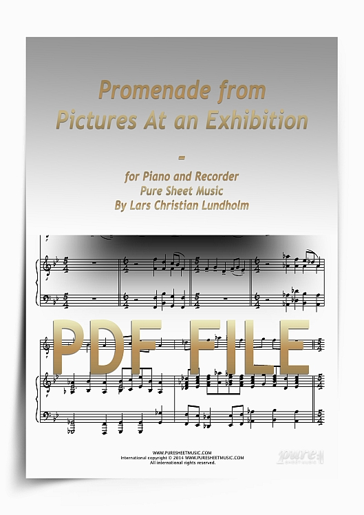 Thumbnail Promenade from Pictures At an Exhibition for Piano and Recorder (PDF file), Pure Sheet Music arranged by Lars Christian Lundholm
