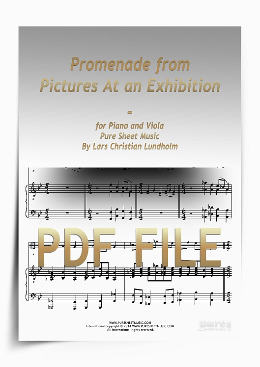 Thumbnail Promenade from Pictures At an Exhibition for Piano and Viola (PDF file), Pure Sheet Music arranged by Lars Christian Lundholm