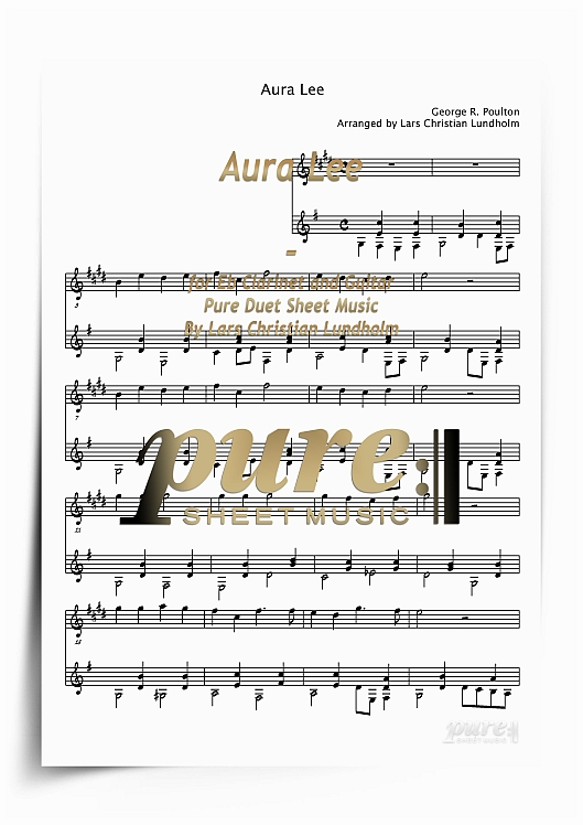 Product picture Aura Lee for Eb Clarinet and Guitar (PDF file), Pure Sheet Music arranged by Lars Christian Lundholm