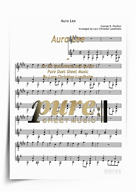 Product picture Aura Lee for Eb Instrument and Guitar (PDF file), Pure Sheet Music arranged by Lars Christian Lundholm