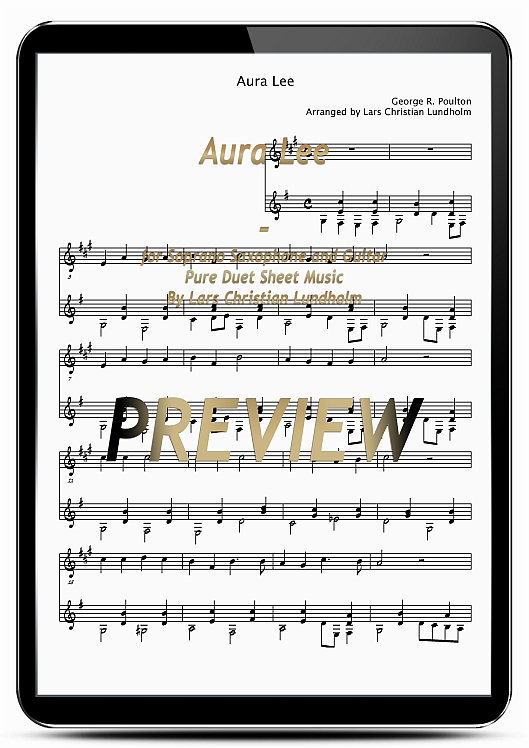 Product picture Aura Lee for Soprano Saxophone and Guitar (EPUB file), Pure Sheet Music as Ebook arranged by Lars Christian Lundholm