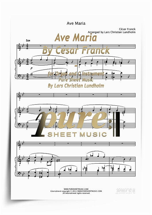Product picture Ave Maria By Cesar Franck for Organ and C Instrument (PDF file), Pure Sheet Music arranged by Lars Christian Lundholm