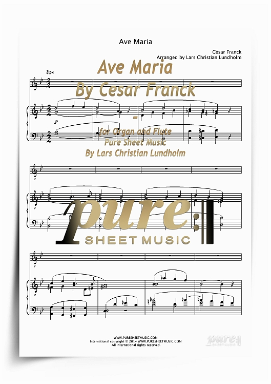 Product picture Ave Maria By Cesar Franck for Organ and Flute (PDF file), Pure Sheet Music arranged by Lars Christian Lundholm