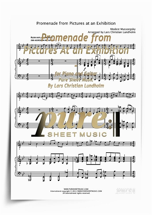 Product picture Promenade from Pictures At an Exhibition for Piano and Guitar (PDF file), Pure Sheet Music arranged by Lars Christian Lundholm